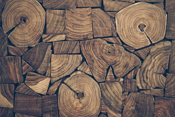 Fototapeta pieces of round teak wood stump background