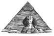 Egypt vector logo design template. Egyptian pyramid or Sphinx