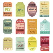 Set Of Vintage Luggage Tags