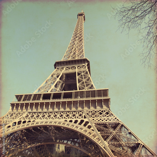 Old style photo of Eiffel Tower. #78429741
