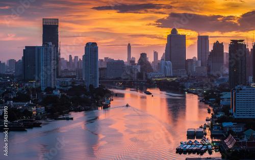 Poster Bangkok Bangkok City at morning time and the river,Hotel and resident