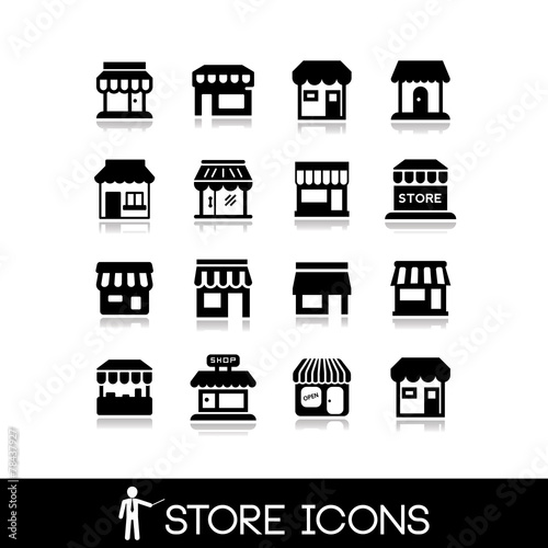 Store icons.Commercial symbol. Shop icons. Canvas Print