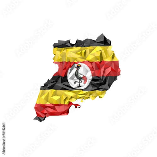 Pinturas sobre lienzo  Low Poly Uganda Map with National Flag