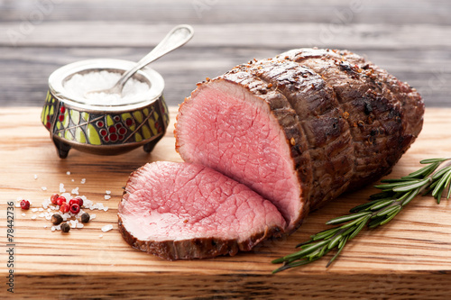 Roast beef with rosemary Canvas Print