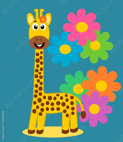 Poster de jardin Zoo a cute giraffe on floral background