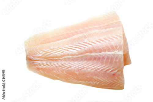 Raw Mild White Fish Isolated on White Fototapeta