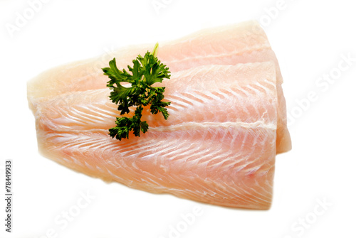 Stampa su Tela Fresh Pollack Fillets with Fresh Parsley