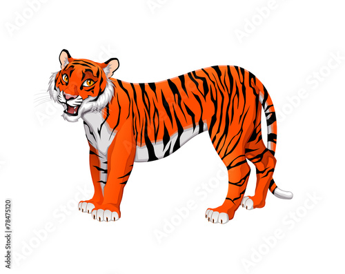 Poster Chambre d enfant Red cartoon tiger