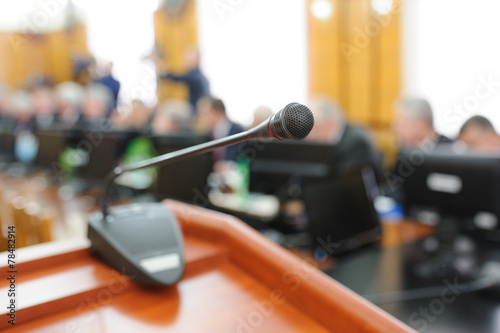 A mic in front of an Audience Canvas Print