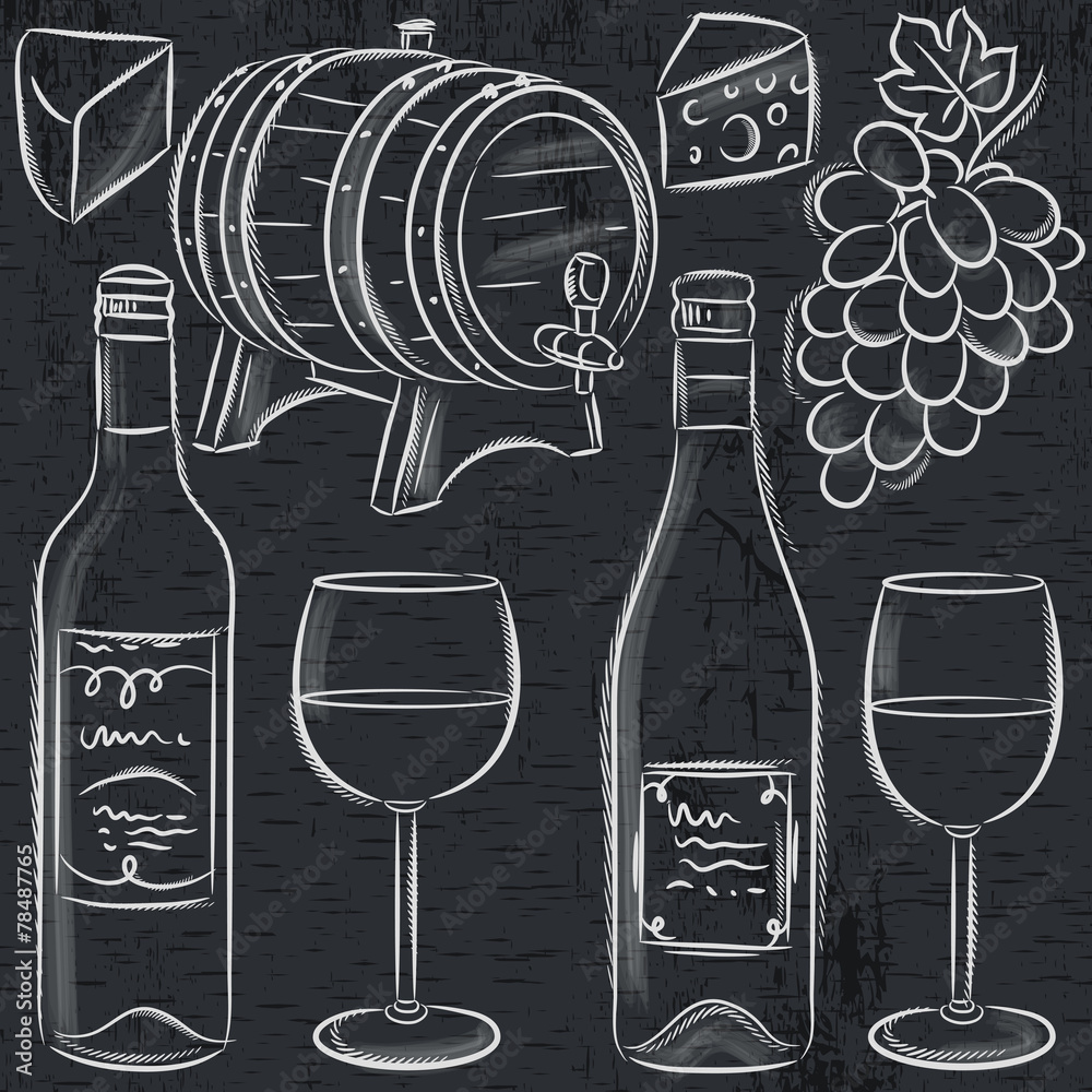 set of glases and bottles for wine on blackboard, vector