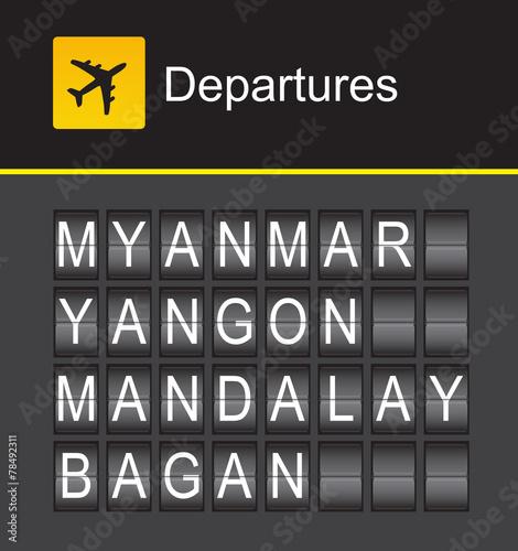 Myanmar Flip Alphabet Airport Departures Yangon Mandalay Buy This Stock Vector And Explore Similar Vectors At Adobe Stock Adobe Stock