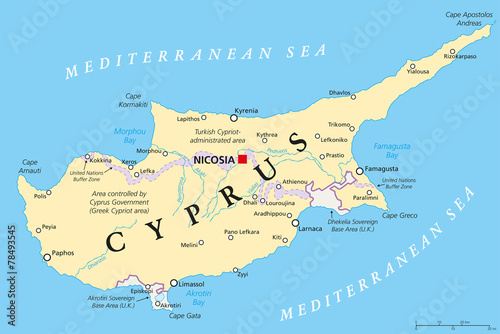 Fotografie, Obraz Cyprus Political Map