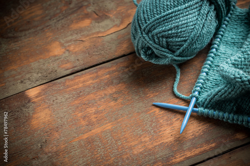 Fotografie, Obraz  Woollen thread and knitting needle