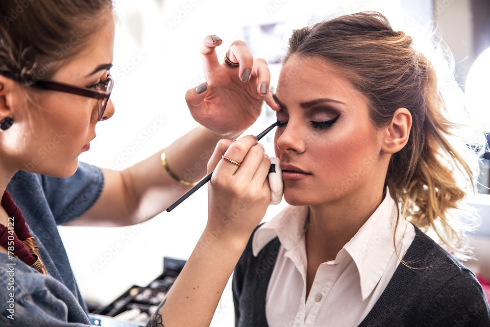 Fototapeta Make-up artist work in her studio.