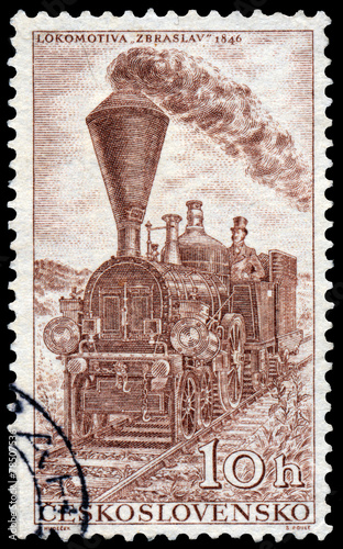 Fotografia, Obraz  Stamp printed in Czechoslovakia shows locomotive