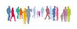 Gruppe von Menschen, Menschengruppe - Paare in Pastellfarben, bunte Silhouette