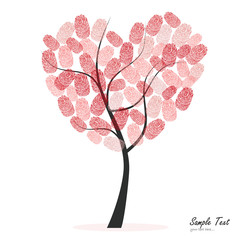 Naklejka Heart tree with finger prints vector