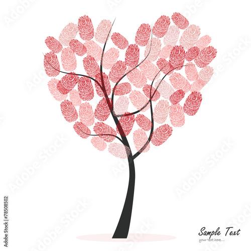 Foto auf AluDibond Vögel, Bienen Heart tree with finger prints vector