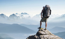 Tourist In Mountain Peak. Active Life Concept