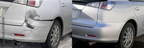 Fotografie, Obraz  自動 車 の 修理 の 前 と 後