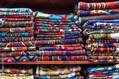 Colourful Fabrics display, Muscat, Oman - Buy this stock