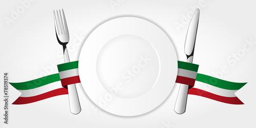 Fototapeta Plate with tableware & italian tape obraz