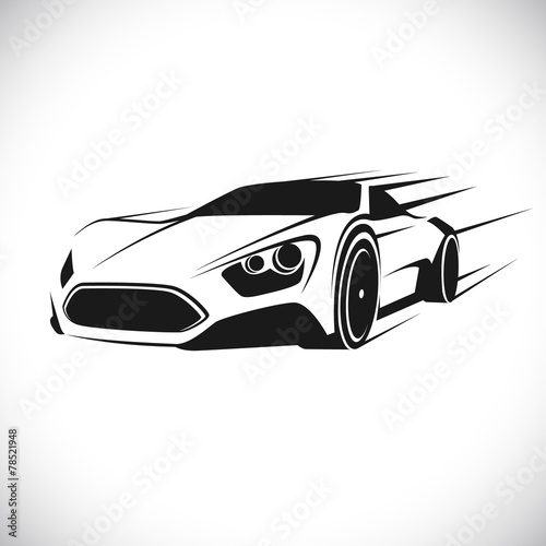 Staande foto Cartoon cars Label with a picture of a racing car. Vector.