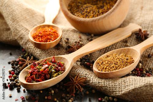 Foto auf AluDibond Gewürze 2 Different kinds of spices on wooden background