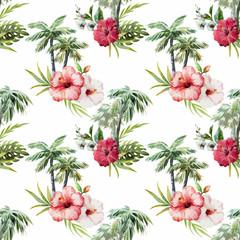 Naklejka Kwiaty Palm pattern