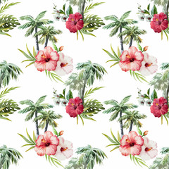 Panel Szklany Kwiaty Palm pattern