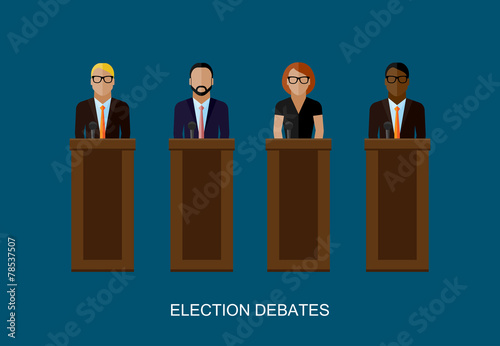 Fényképezés  flat  illustration of a speakers. politicians. election debates