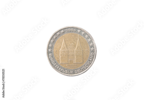 Photographie  Commemorative 2 euro coin of Germany minted in 2006 over white