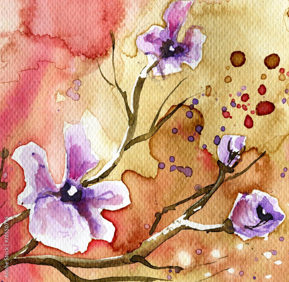 Fototapety, obrazy: Kwiaty w tle