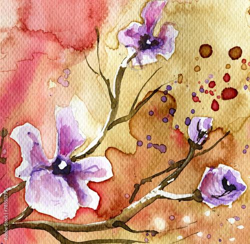 Obraz Kwiaty w tle - fototapety do salonu