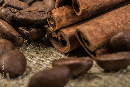 Recess Fitting Firewood texture coffee beans with cinnamon sticks on sack textile