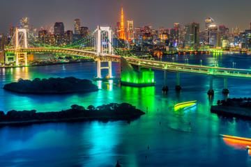 Panel Szklany Podświetlane Miasta Tokyo, Japan.