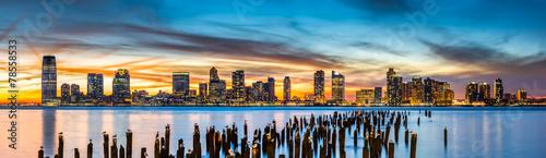 Poster New York Jersey City panorama at sunset