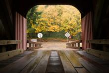 Inside Covered Bridge Fall Color Autumn Leaves
