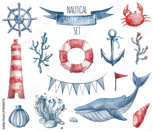 Nautical watercolor set