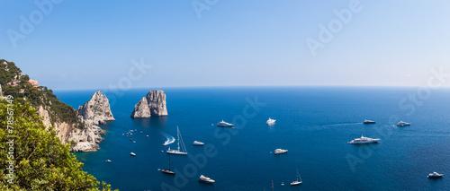 Panorama view of Faraglioni cliffs and the Tyrrhenian sea