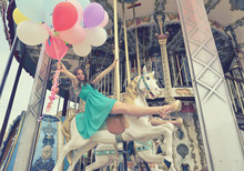 Merry-go-round Young Woman Pla...
