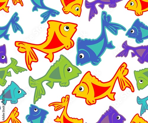 Poster Chambre d enfant Cheerful vector background with vivid colored fish cartoons