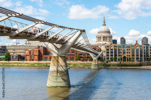 St Paul's Cathedral and the Millennium Bridge in London Wallpaper Mural
