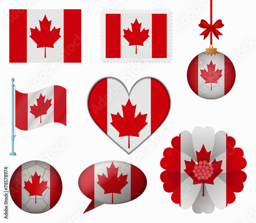 33f0e976688c Canada flag set of 8 items vector - Buy this stock vector and ...