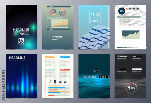Photo  set of abstract geometric modern style infographic  brochure tem