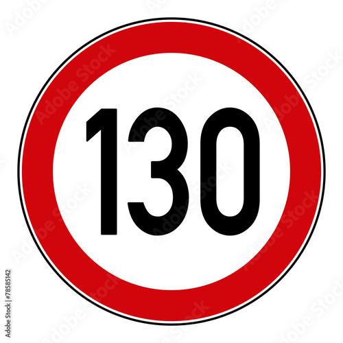 Cuadros en Lienzo rsr21 RoadSignRound 274 - Höchstgeschwindigkeit 130 km/h - g3256