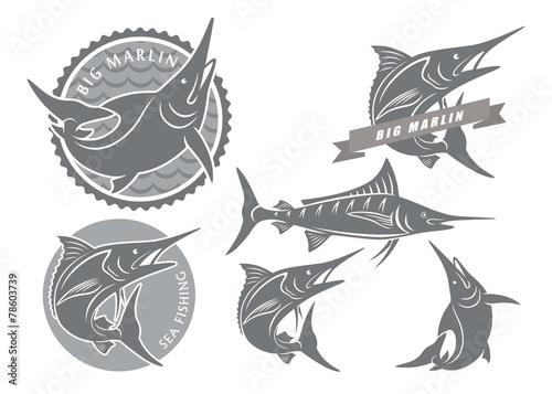 Photo  icons  of marlin fishing