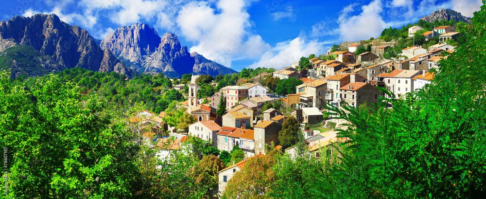 Fototapeta Evisa - beautiful mountain village in Corsica