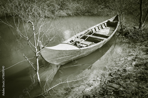 Photo  monochrome of a Canoe parked in the shore of a river