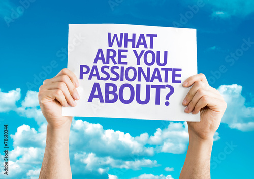 Photo  What Are You Passionate About? card with sky background